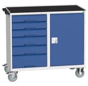 Mobile Maintenance Trolley with 6 Drawers, Cupboard And Top Tray