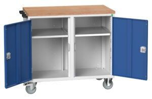 Mobile Maintenance Trolley with 2 Cupboards And Multiplex Worktop