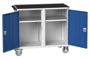 Verso Mobile Maintenance Trolley with 2 Cupboards And Top Tray
