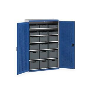 Cupboard with Louvre Doors, 6 Shelves, 18 Euroboxes
