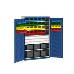 Cupboard with Louvre Doors, 6 Shelves, 48 Bins, 6 Euroboxes