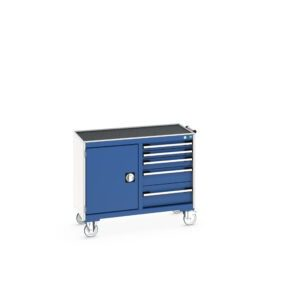 Maintenance Trolley - Mobile Cabinet with Top Tray and Mat - Cupboard and 5 Drawers