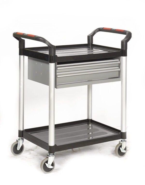 2 Shelf Trolley with Steel Drawers