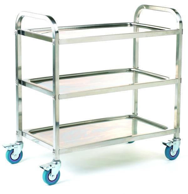 Stainless Steel Braked Shelf Trolley