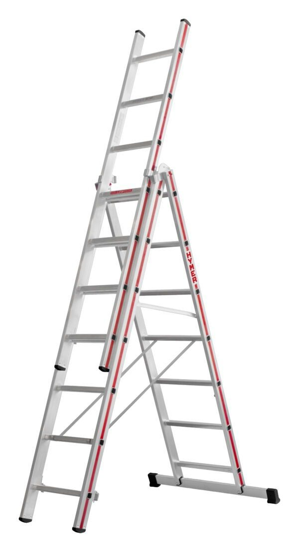Red Line 3 Part Combination Ladders