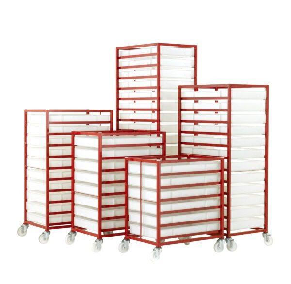 Mobile Tray Racks with Polyethylene Food Grade Trays